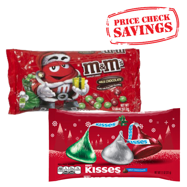 Hershey's 11 oz Christmas Kisses or M&M's 11.4 oz Red & Green Chocolate Candies